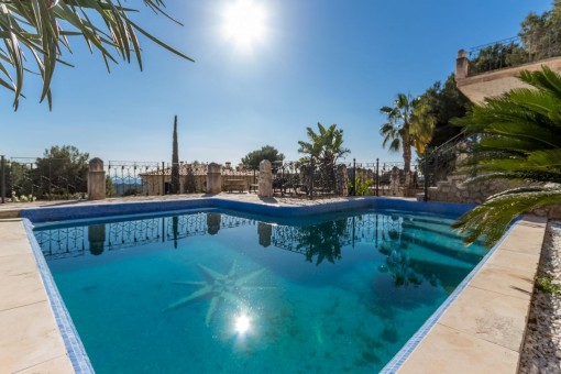 Classic Majorcan palace overlooking the sea in...