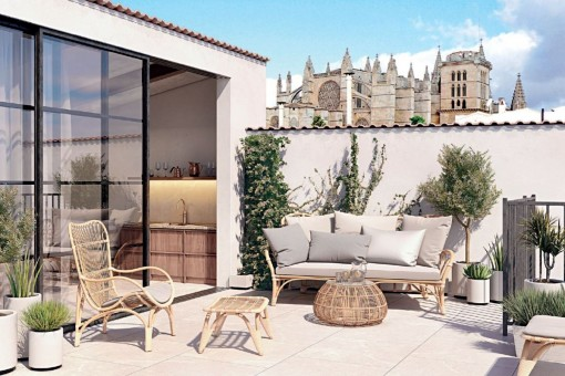 Triplex penthouse in a16th century Renaissance palace in the historical centre of Palma